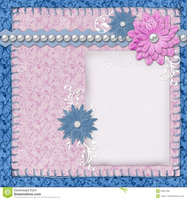 Scrapbook Layout In Blue And Pink Colors Royalty Free