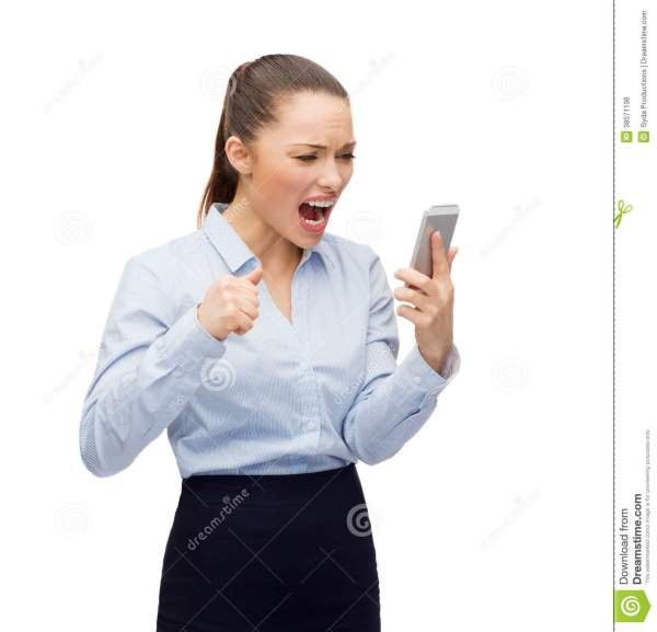 Screaming Businesswoman With Smartphone Royalty Free Stock