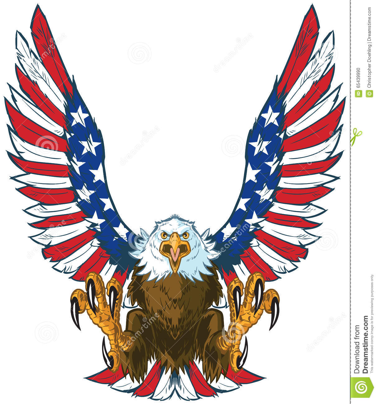 hight resolution of screaming eagle with american flag wings vector clip art