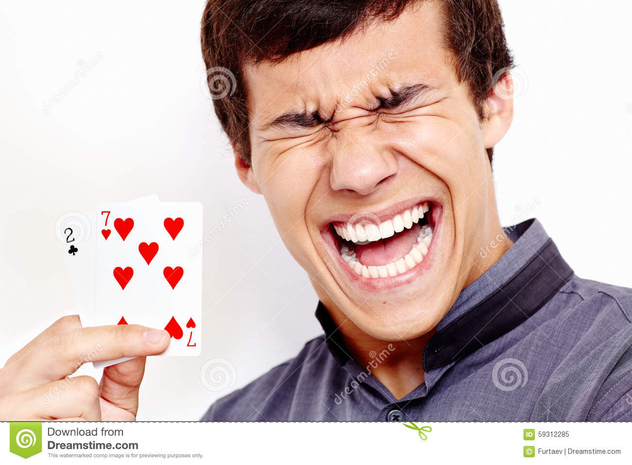 Screaming Guy With Bad Playing Cards Stock Photo Image
