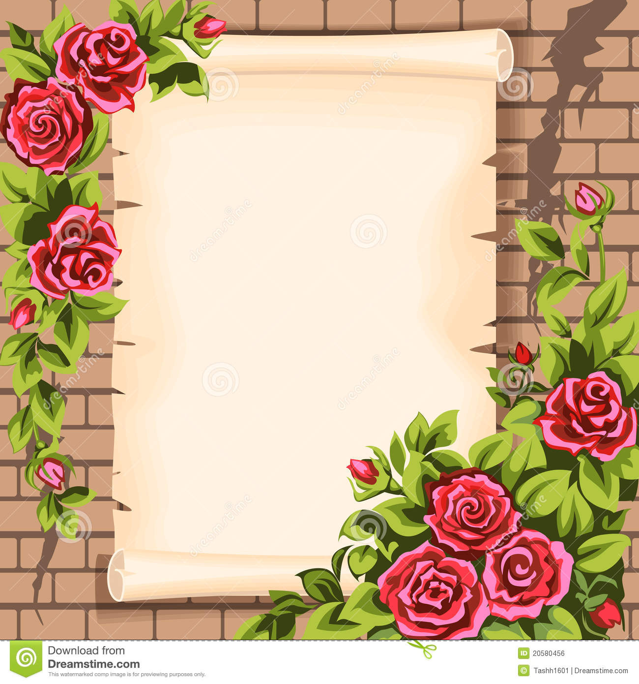 scrol and roses stock