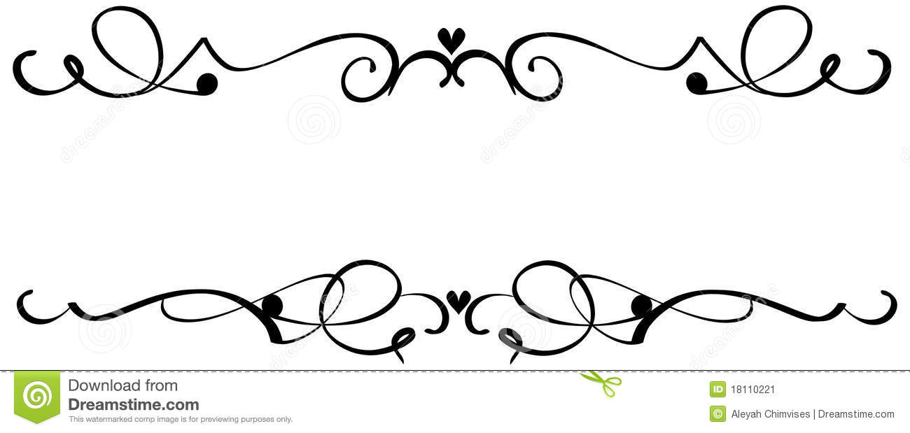 Scroll Heart Ornaments stock vector. Illustration of line