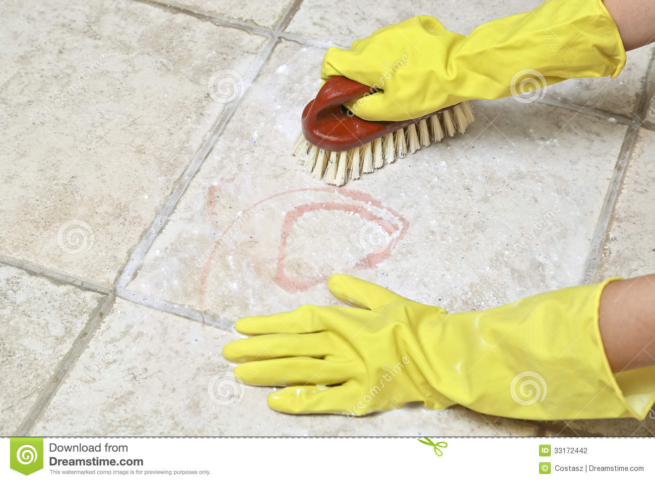 Scrubbing The Tiles Stock Photography  Image 33172442