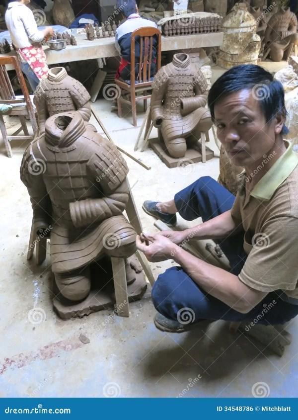 Sculpter Sculpts Large Replica Terracota Warrior In Xian