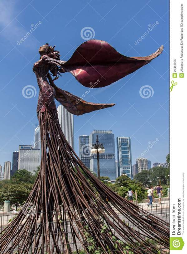 Sculpture In Chicago Editorial Of Woman