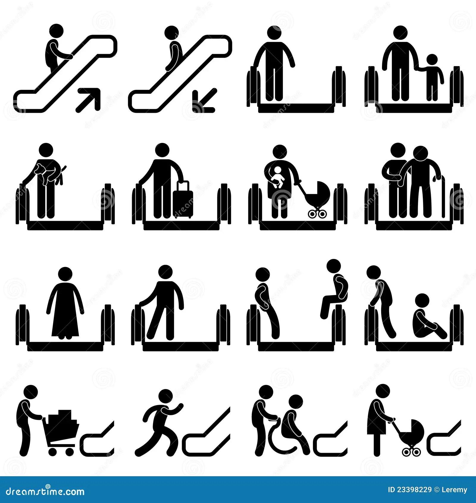 Senal De Peligro De La Escalera Movil Ilustracion Del