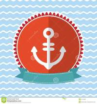 Sea Anchor Vintage Card Design Red And Blue. Vector Stock ...