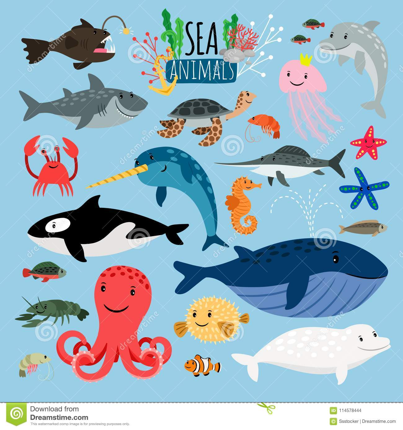 Cute Jellyfish Clipart Starfish Cartoons, Illustrations & Vector Stock Images