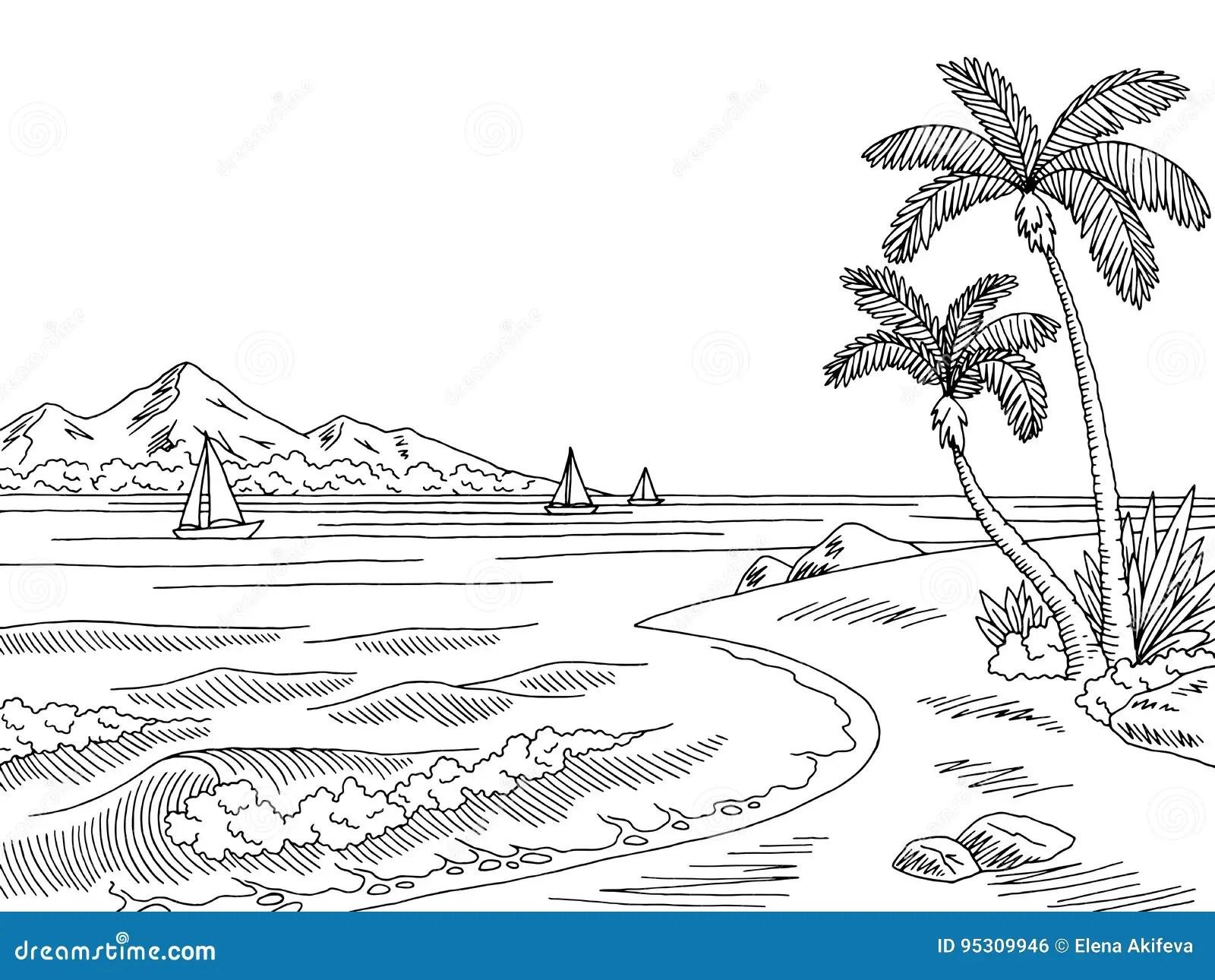Sea Bay Graphic Black White Landscape Sketch Illustration