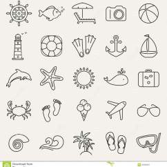 Cream Lounge Chair White Cross Back Dining Sea And Beach Line Icons. Vector Set. Stock - Image: 55032667