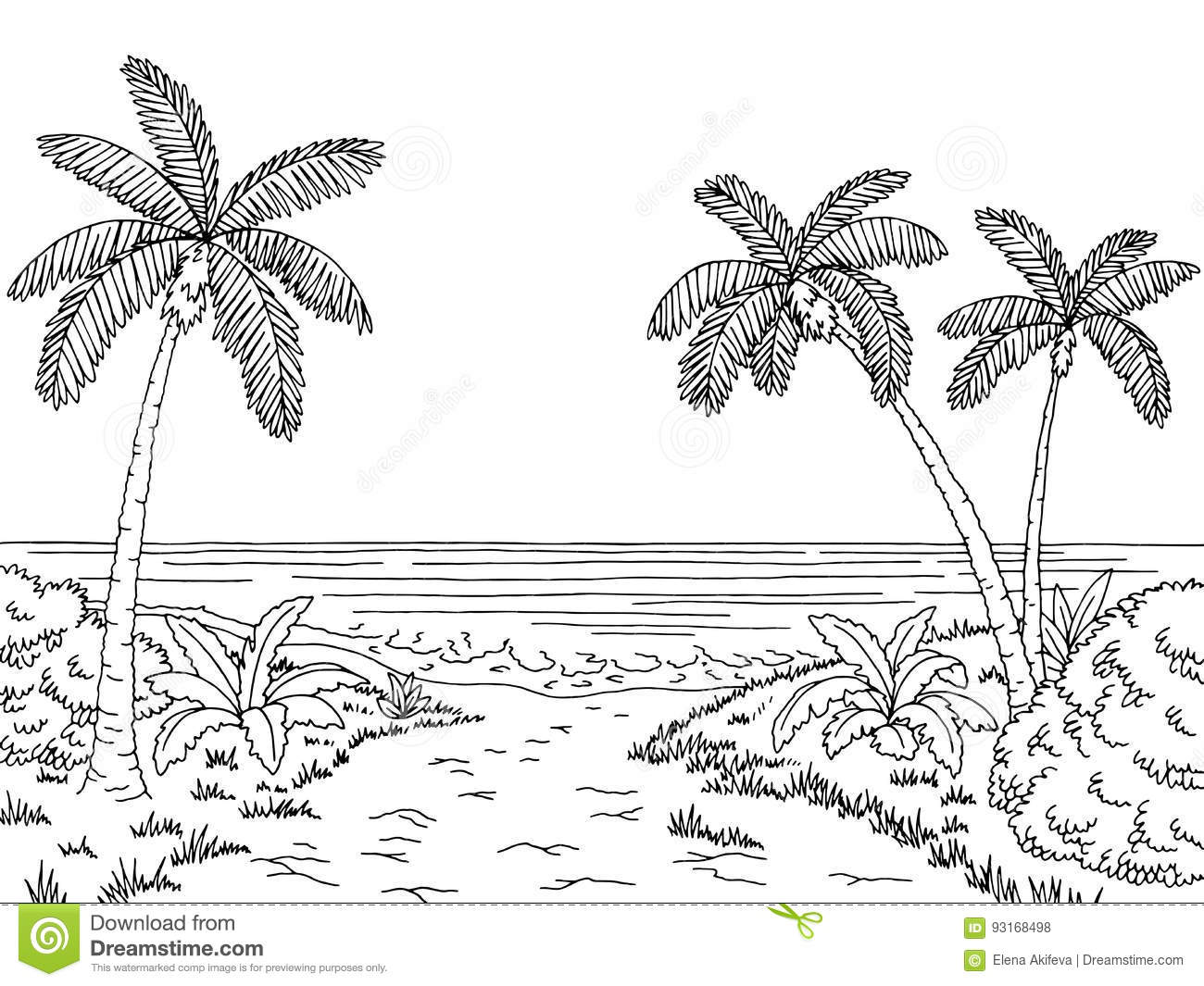 Sea Coast Graphic Black White Landscape Sketch