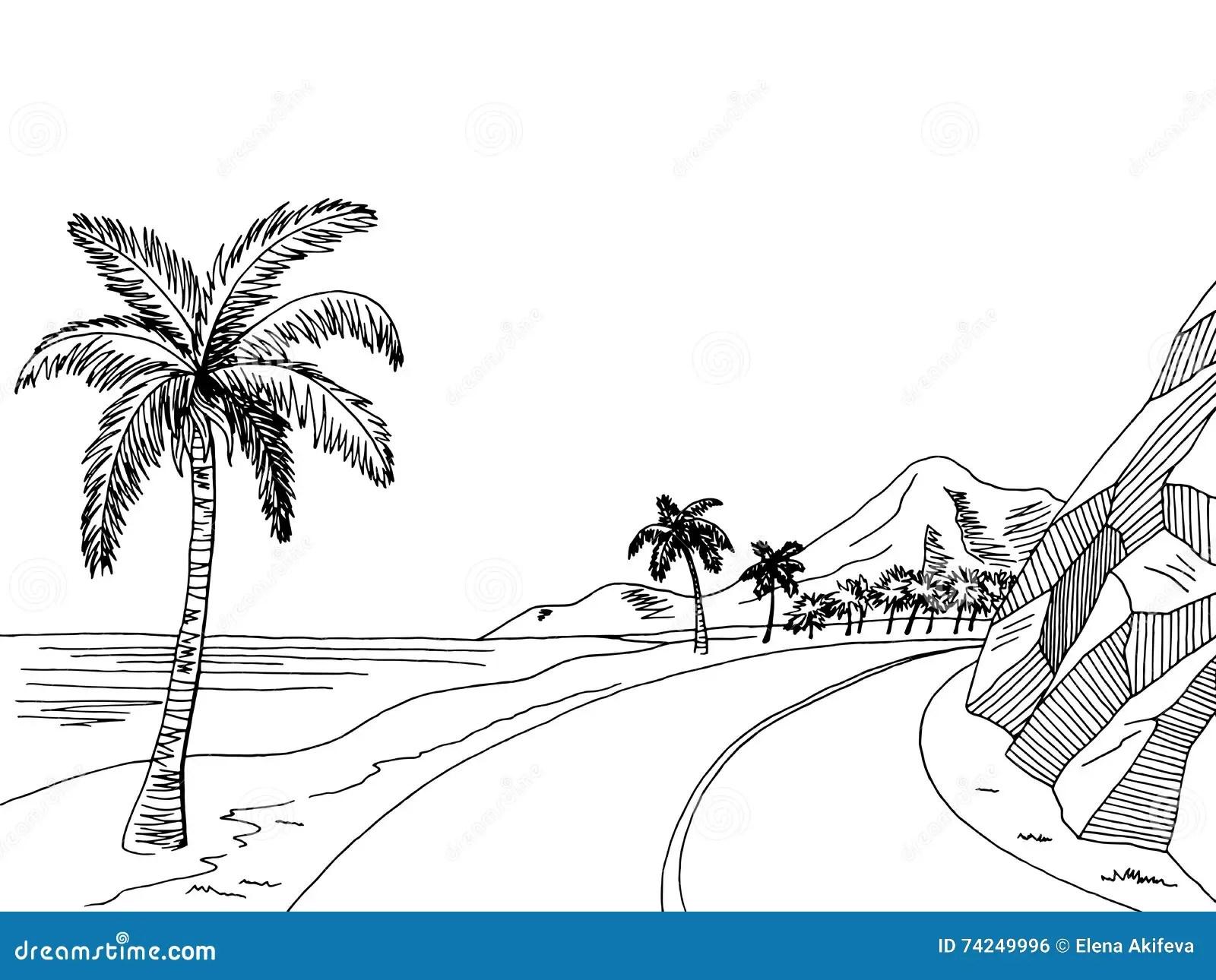 Sea Coast Road Graphic Art Black White Landscape Sketch