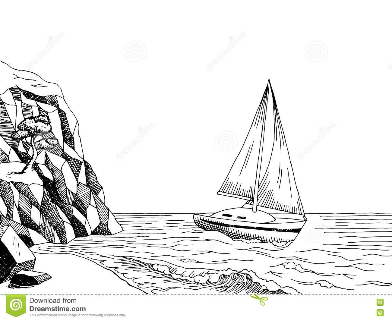 Sea Coast Yacht Graphic Art Pine Black White Landscape