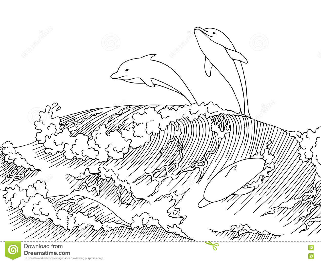 Sea Dolphins Wave Graphic Art Surf Black White Landscape
