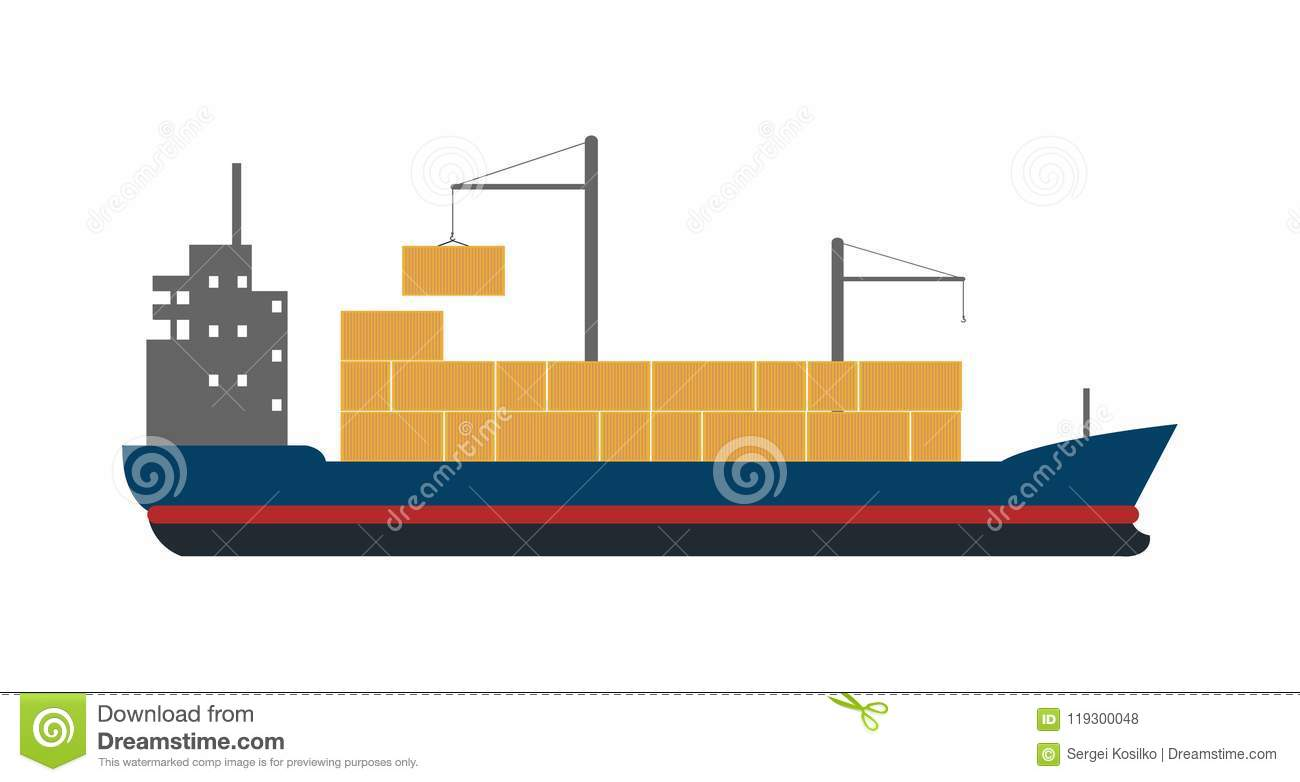 hight resolution of sea freight icon with container ship