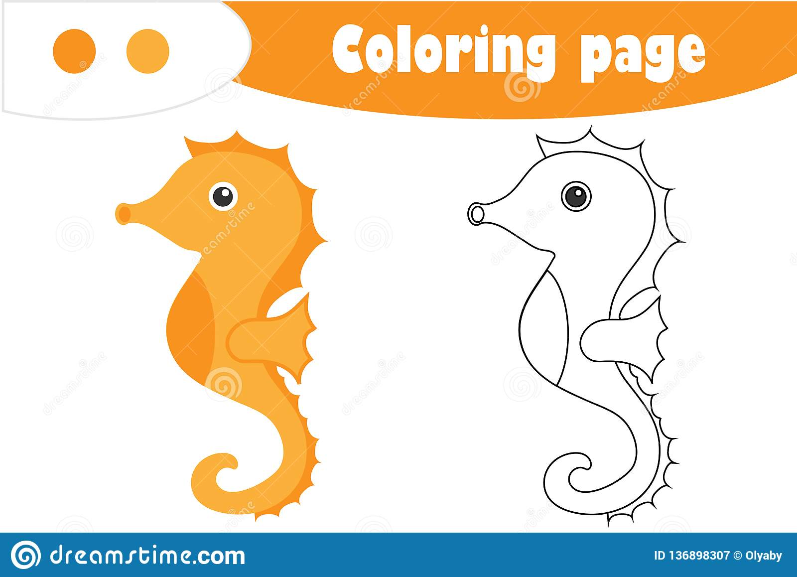 Sea Horse In Cartoon Style Coloring Page Education Paper
