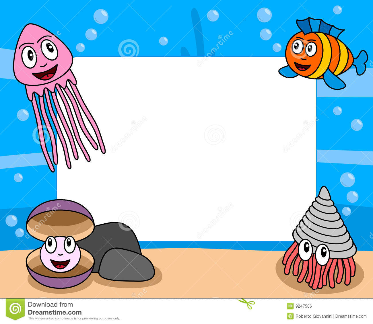 Sea Life Photo Frame 4 Stock Vector Illustration Of