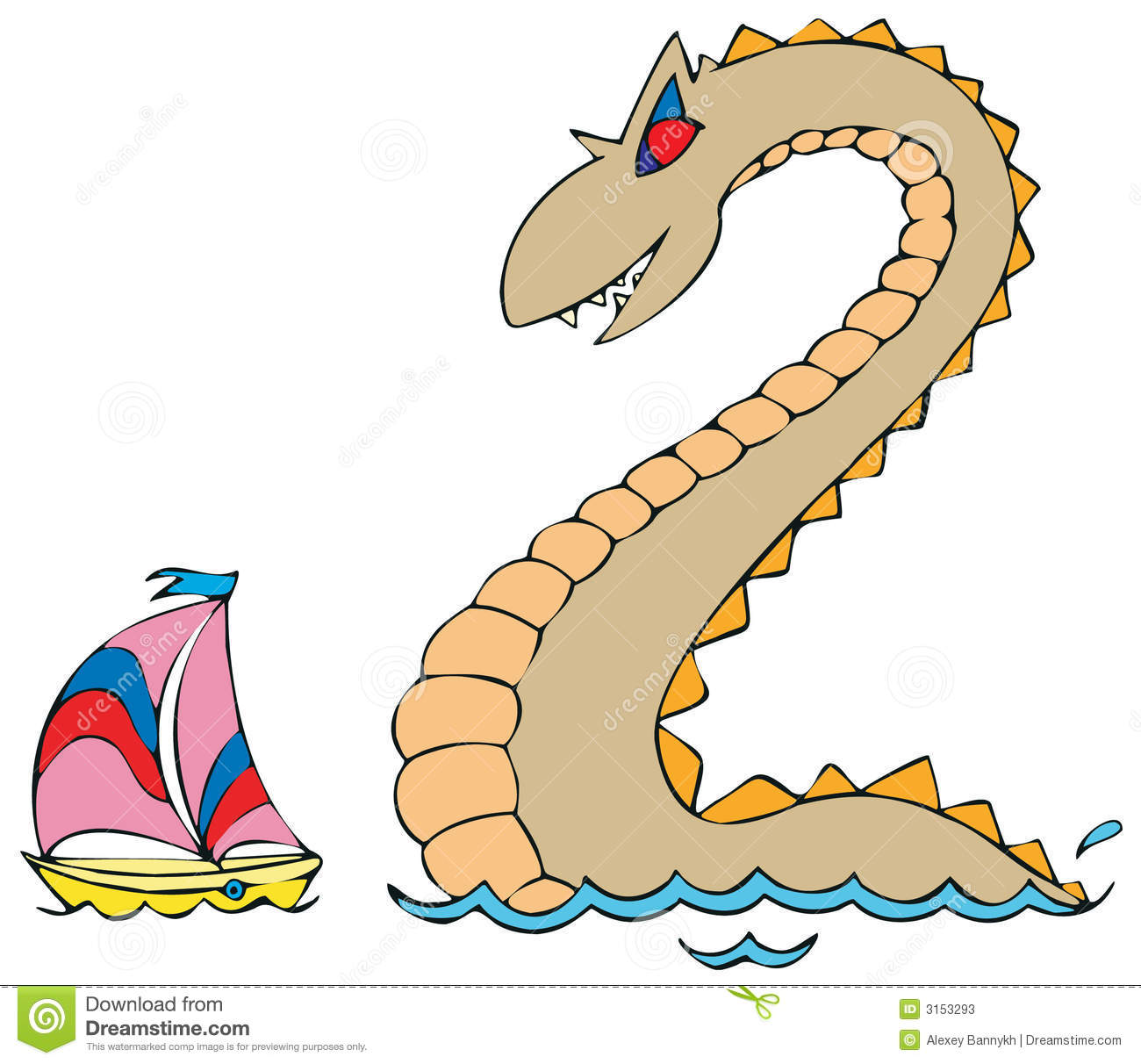 Sea Monster And Yacht Stock Photos Image 3153293
