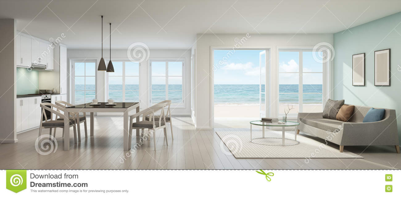 Sea View Living Room Dining Room And Kitchen Beach House Stock Illustration  Illustration of