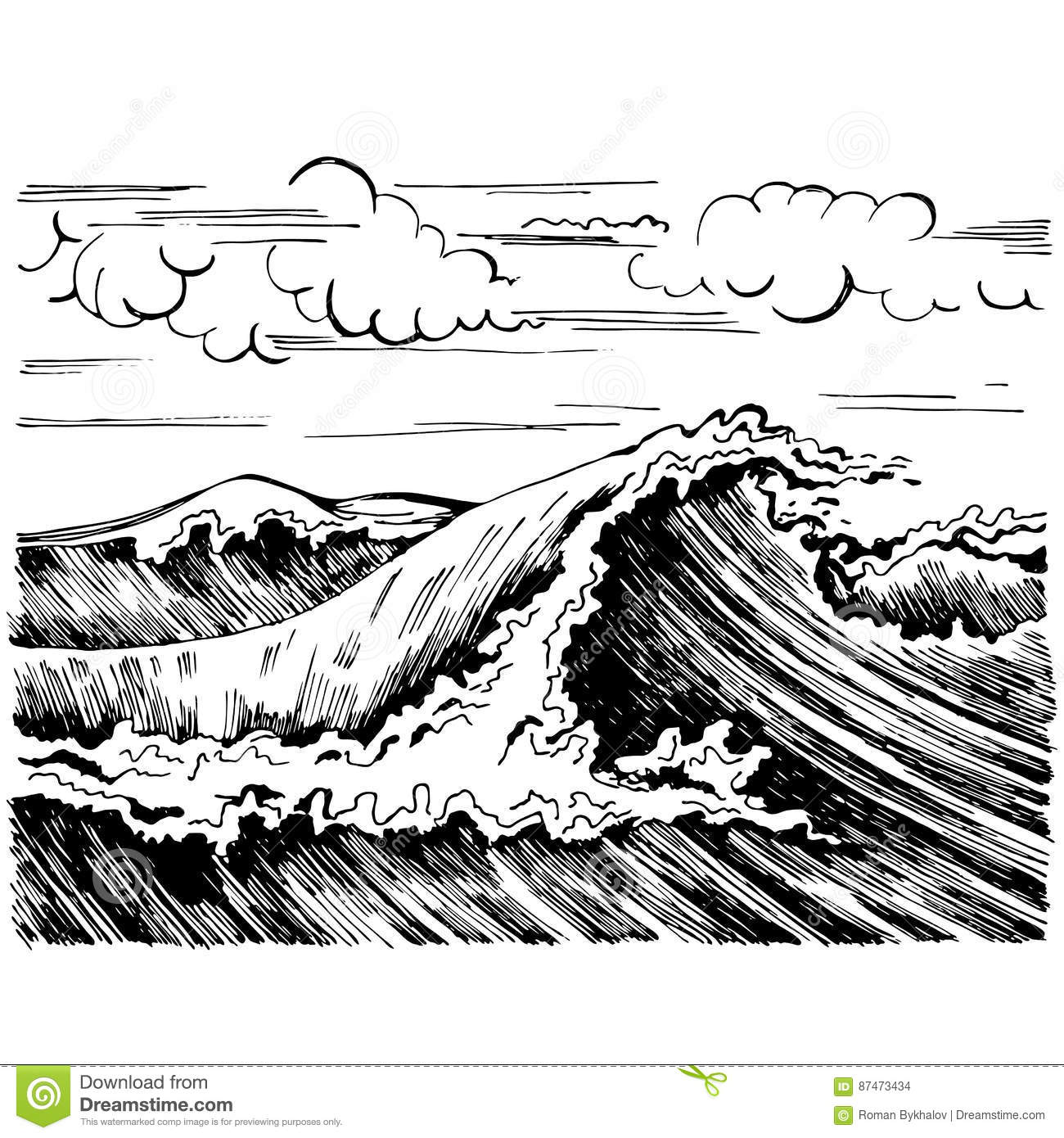 Sea Wave Graphic Art Black White Landscape Stock Vector