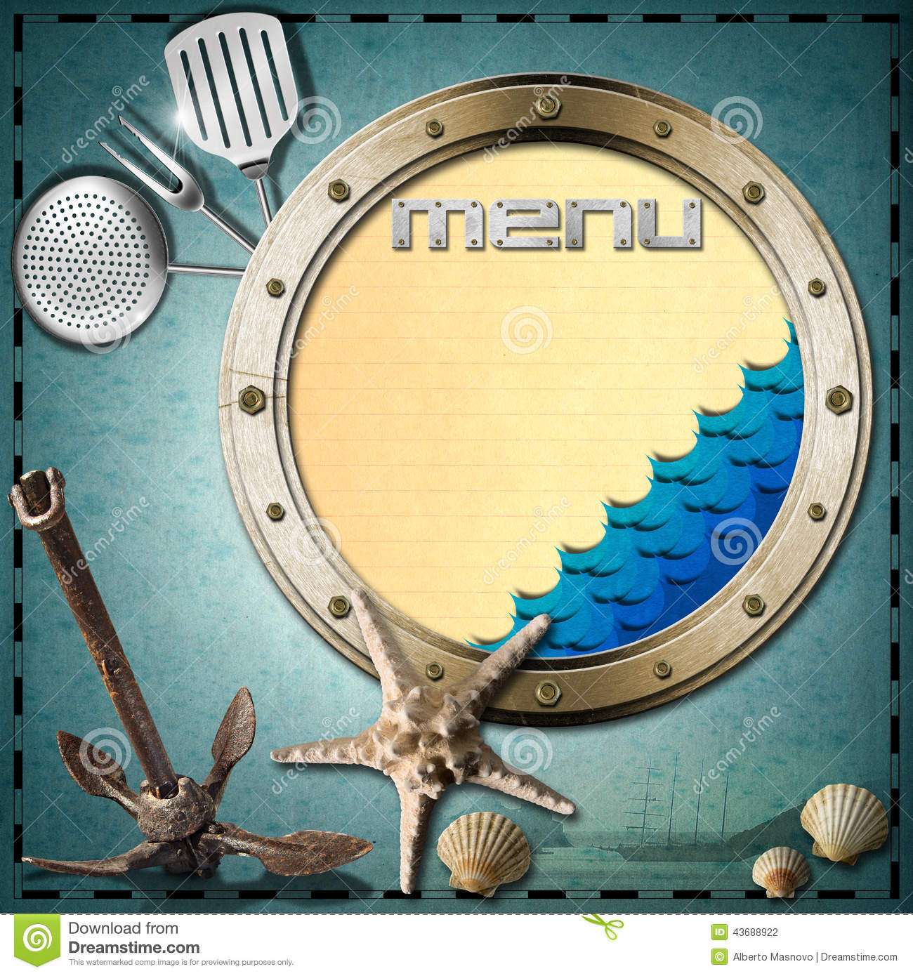 Seafood Menu Template Stock Illustration Image Of Black