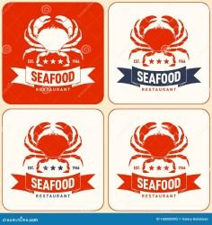 seafood restaurant emblems market vector crab lettering ribbon silhouette