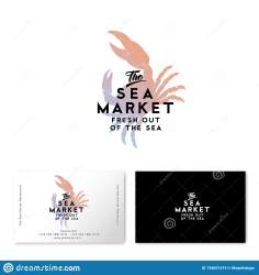 silhouette seafood card crab watercolor restaurant identity