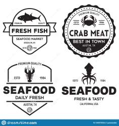 seafood restaurant logos market fisherman silhouettes emblems fishes vector