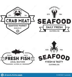 restaurant seafood market logos fishes fisherman emblems silhouettes vector