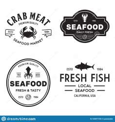restaurant seafood market logos illustration silhouettes fishes emblems fisherman vector preview