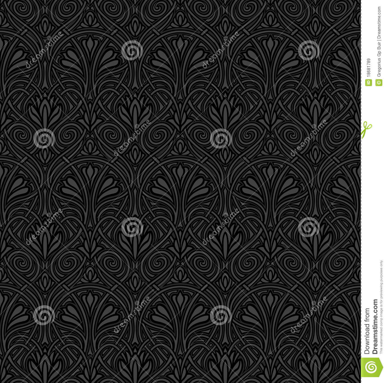 Victorian Wallpaper Black Seamless Art Nouveau Pattern Stock Vector Image 18681789