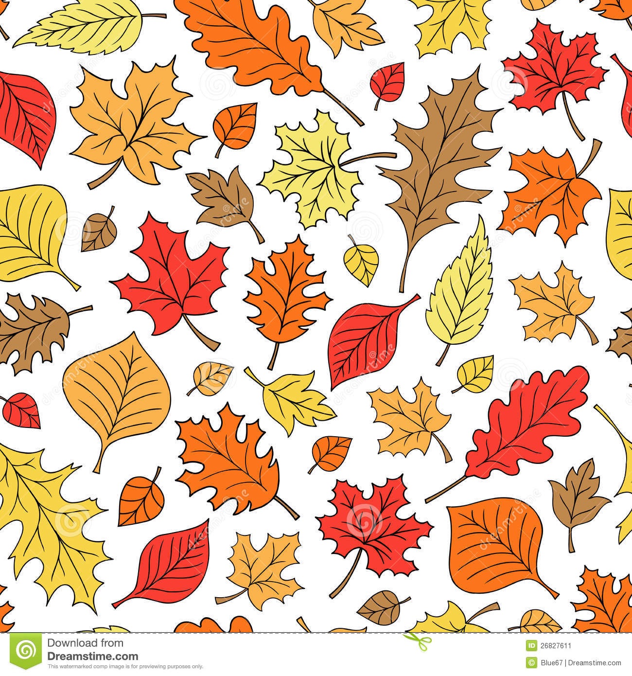 Fall Maple Leaf Tiled Wallpaper Seamless Autumn Fall Leaves Pattern Vector Stock Vector