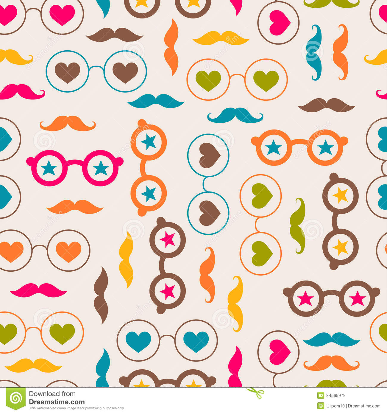 Seamless Background With Color Glasses And Mustach Royalty