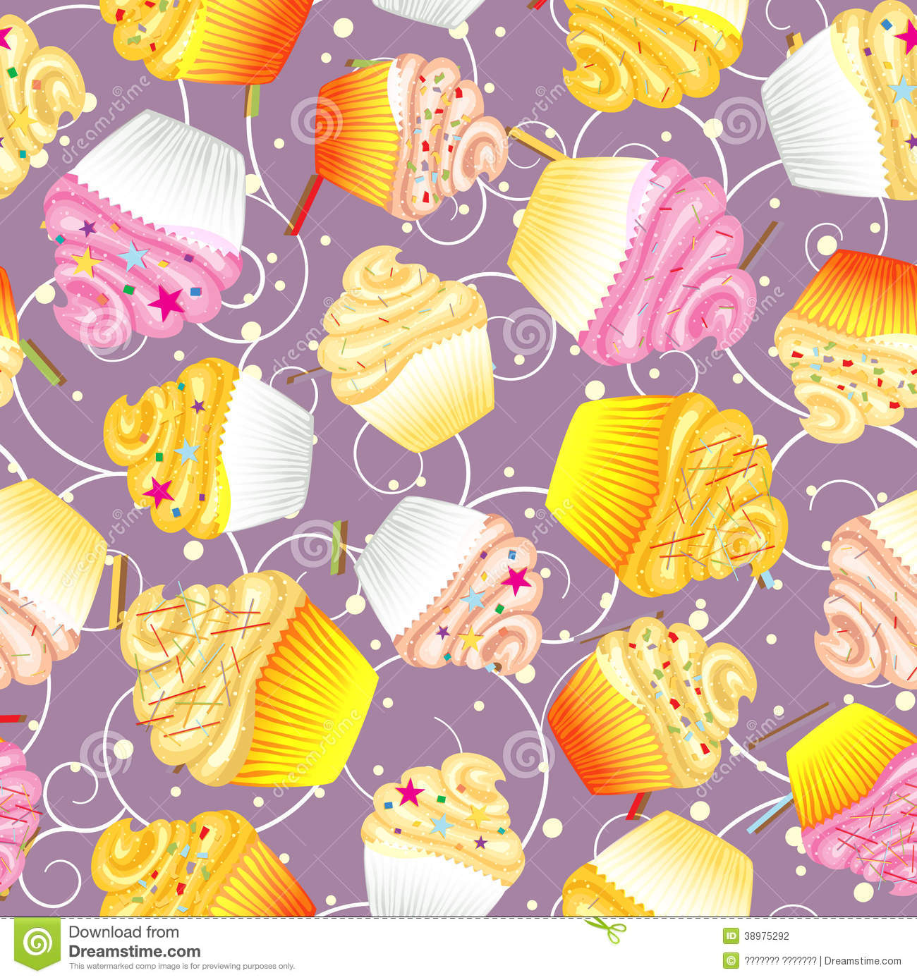 Cute Dessert Wallpaper Seamless Background Of Cupcakes With Cream Stock Vector
