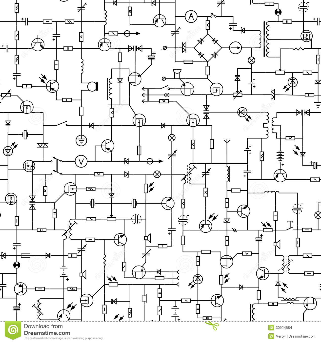 Seamless Background Of Electrical Circuit Stock Images