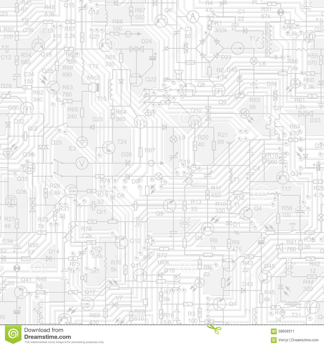 Seamless Background Of Electrical Circuit Stock Vector