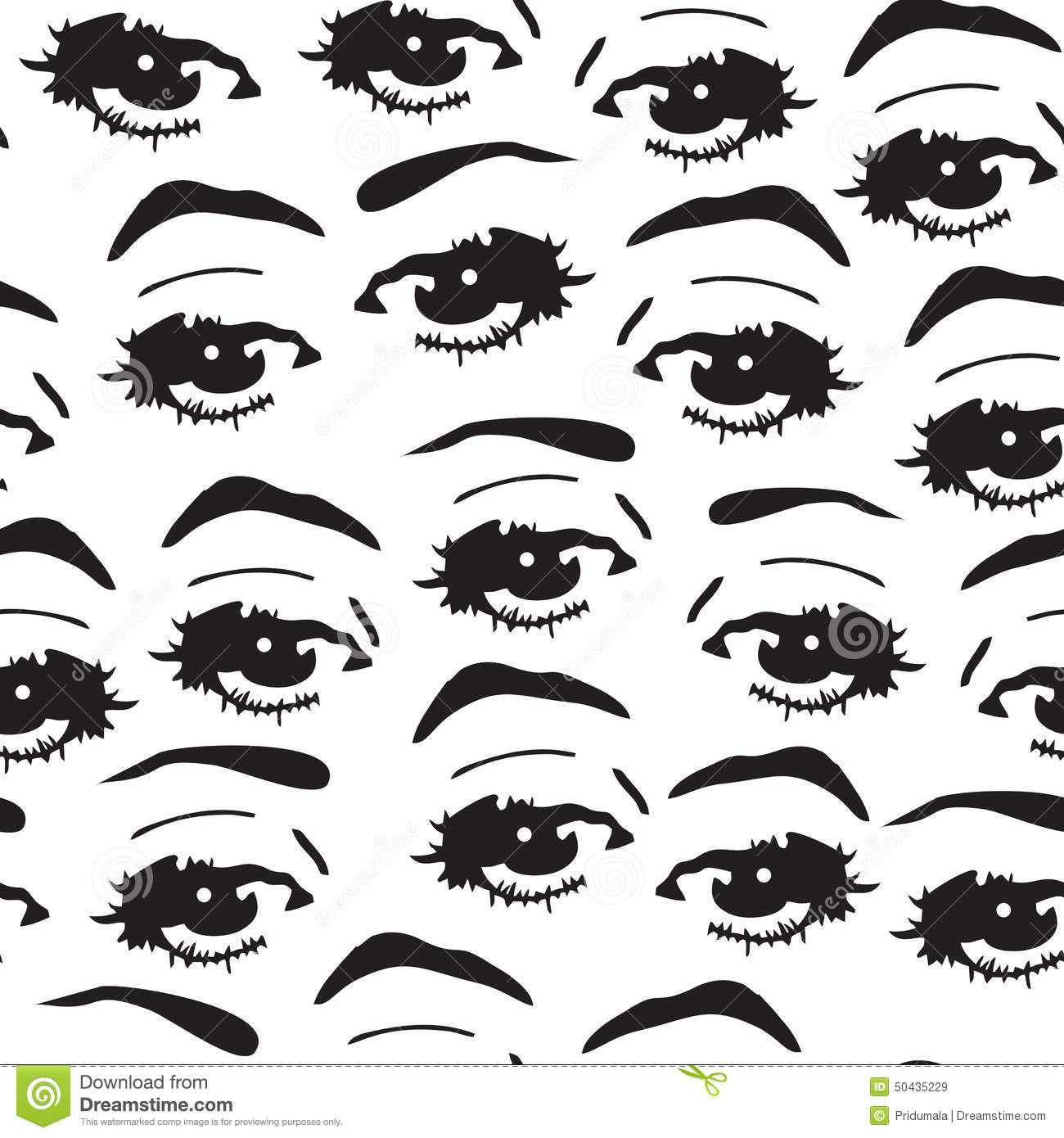 Seamless Background With Eyes Endless Eye Pattern Stock