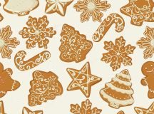 Seamless Christmas Pattern With Gingerbread Cookies In ...