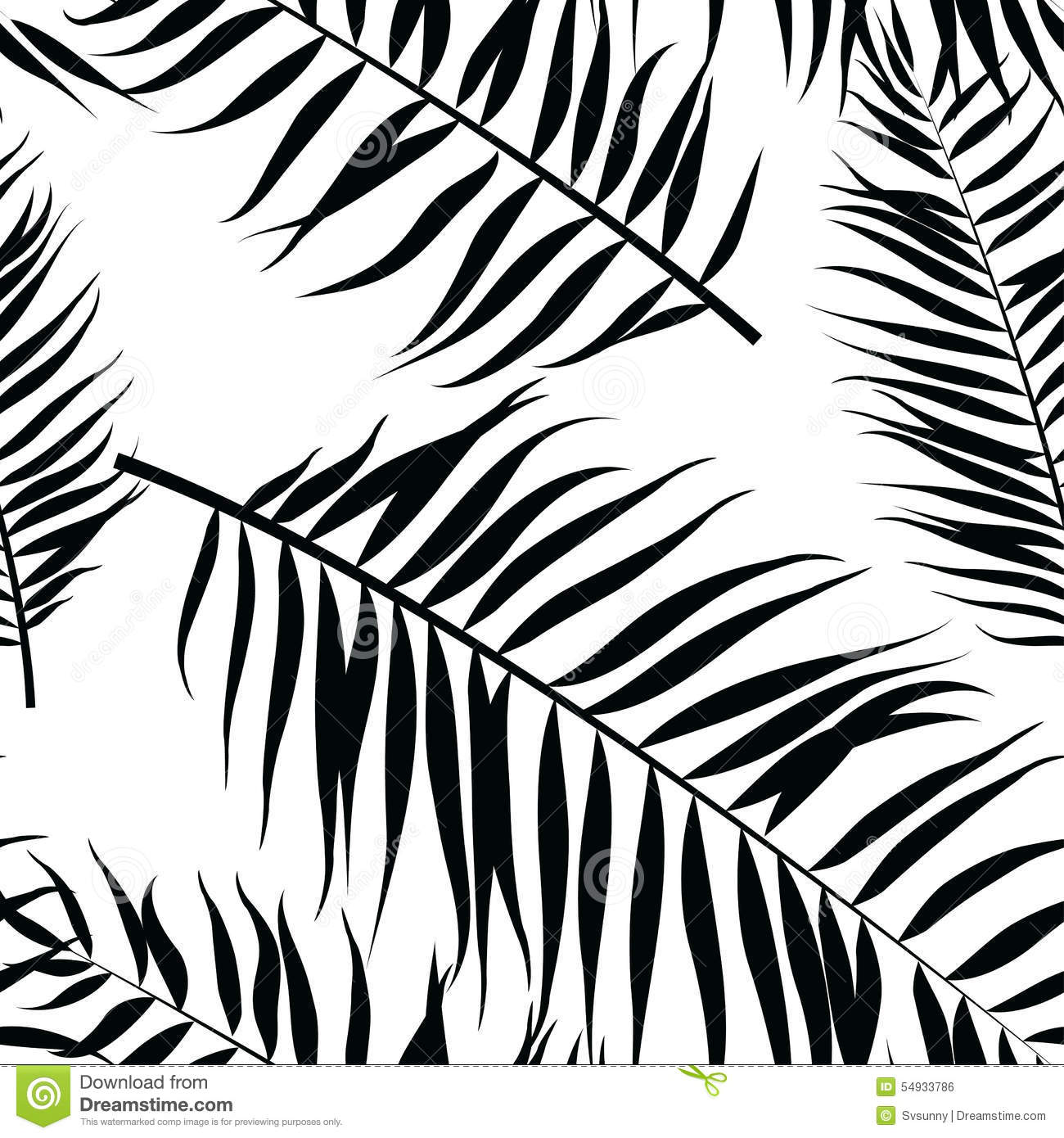 Seamless Color Palm Leaves Pattern. Flat Style. Black And