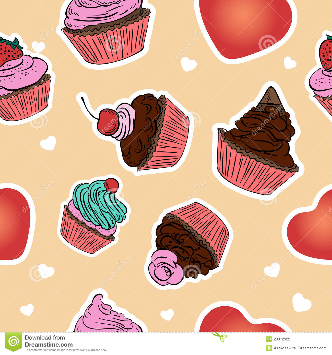 Girl With Chocolate Wallpaper Seamless Cupcake Pattern Hand Drawn Background Stock