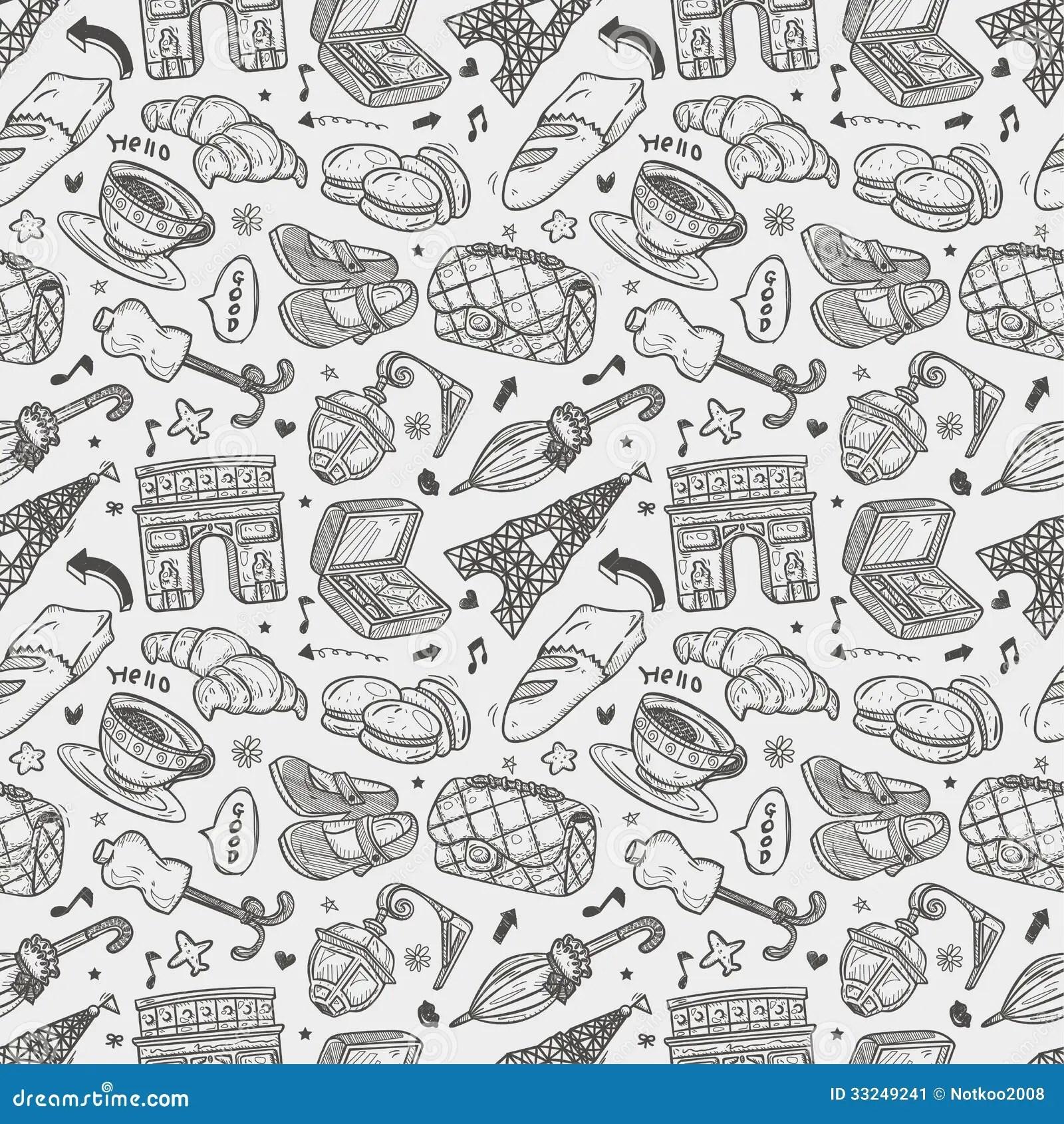 Cute Macaron Wallpaper Seamless Doodle Paris Pattern Stock Illustration