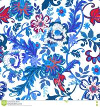 Seamless Floral Background. Colorful Red And Blue Isolated ...