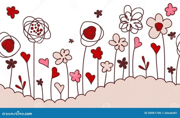 Seamless Horizontal Border With Stylized Flowers Stock