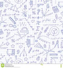 seamless pattern with formulas and charts on the topic of mathematics and education dark blue outline on a light background in a cage [ 1300 x 1390 Pixel ]