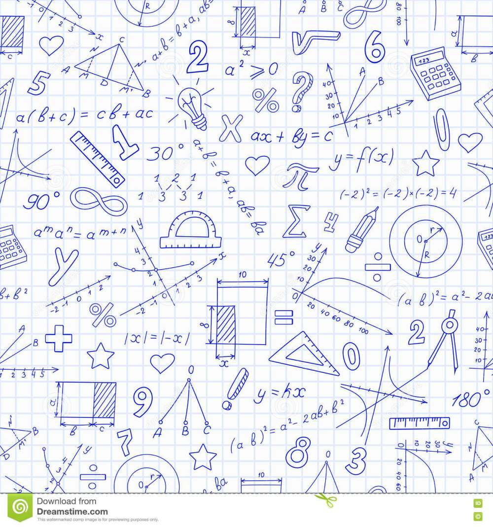 medium resolution of seamless pattern with formulas and charts on the topic of mathematics and education dark blue outline on a light background in a cage