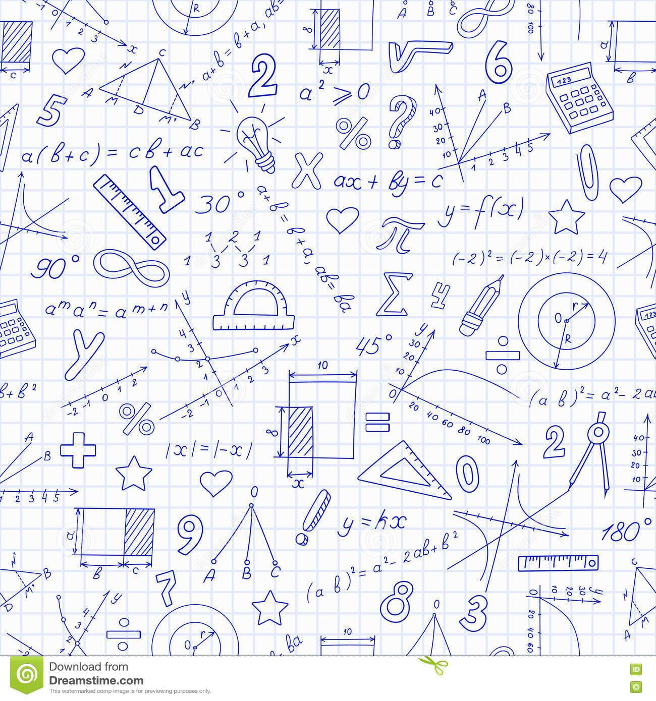hight resolution of seamless pattern with formulas and charts on the topic of mathematics and education dark blue outline on a light background in a cage
