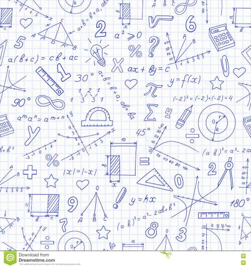 small resolution of seamless pattern with formulas and charts on the topic of mathematics and education dark blue outline on a light background in a cage