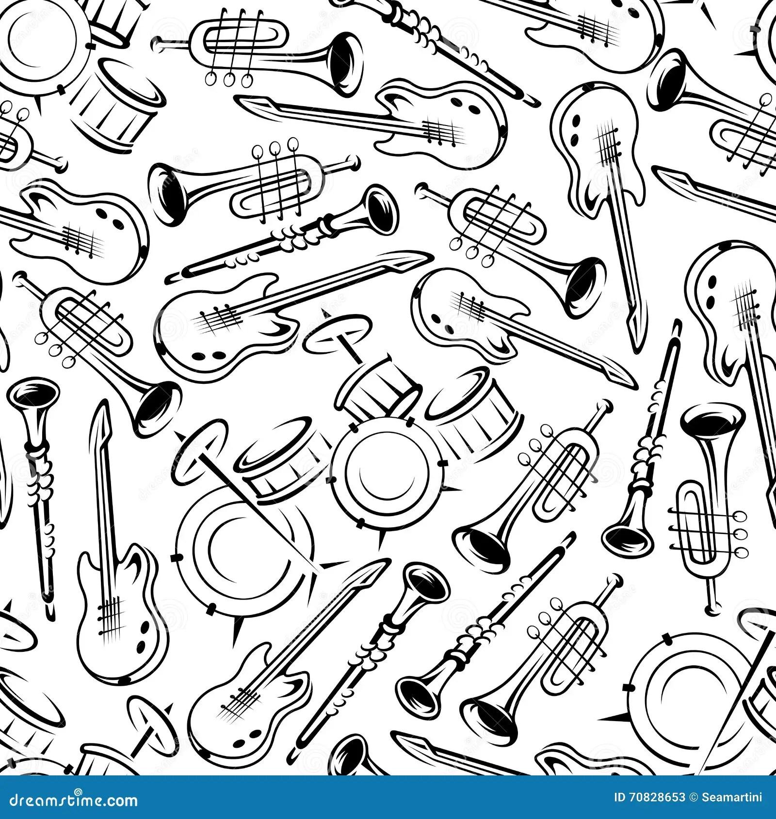 Seamless Jazz Musical Instruments Pattern Stock Vector