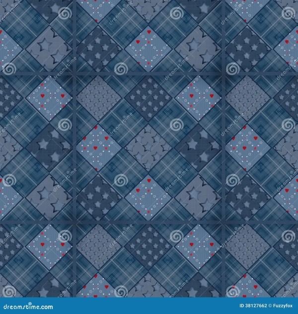 Seamless Jeans Patchwork Pattern Stock Illustration