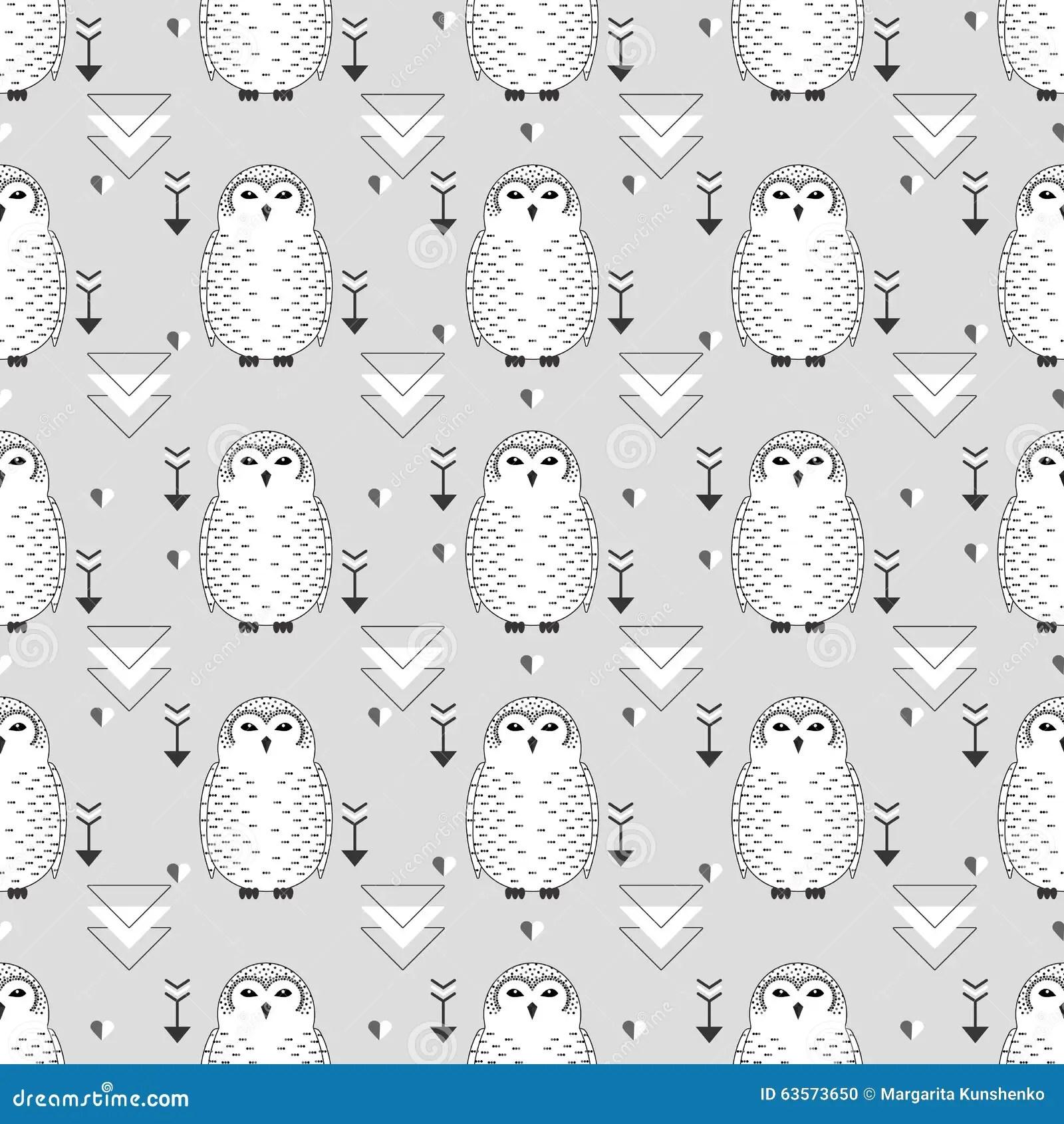 Seamless owl pattern stock vector. Illustration of design
